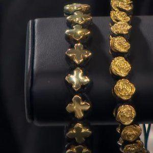 KING BABY Macrame GOLD TONE MB Cross Bracelet